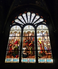 Eglise - English: Stained glass window in church Notre-Dame-des-Vertus, Ligny-en-Barrois (Meuse)