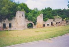 Château et fortifications -  Façade avant avec la porte principale et ses deux tours