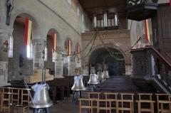 Eglise Saint-Léger - English: Marsal collegiate church interior, with bells and organ.