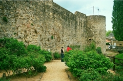 Anciennes fortifications - English: Rodemack, the town wall at the medieval garden