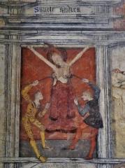 Eglise Saint-Martin - Deutsch: Fresko der Heiligen Agatha in St. Martin, Sillegny, Département Mosel, Region Lothringen (heute Großer Osten), Frankreich