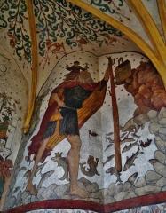Eglise Saint-Martin - Deutsch: Fresko des Heiligen Christophurus in St. Martin, Sillegny, Département Mosel, Region Lothringen (heute Großer Osten), Frankreich
