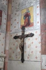 Eglise Saint-Martin - English: Sillegny, Saint Martin church, fresco and crucifix