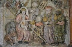 Eglise - Deutsch: Kirche St. Brice in Autreville; Altar mit den Reliefs der Heiligen Drei Könige