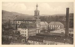 Ancienne abbaye - Français:   abbaye de Moyenmoutier avec l\'usine textile construite devant l\'édifice au cours du XXème siècle