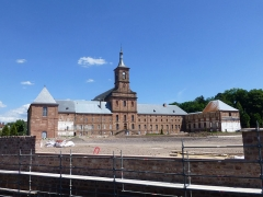 Ancienne abbaye - Français:   Abbaye de Moyenmoutier (Vosges): aménagement de l\'esplanade en cours en juin 2014