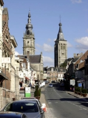 Hôtel de ville -  The city of Le Cateau-Cambrésis, with belfry (left) and church tower (right).