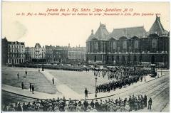 Palais des Beaux-Arts - Deutsch: Lille (Frankreich - Département Nord ) —   2. Königlich Sächsisches Jäger-Bataillon Nr. 13 - Parade in Lille Dezember 1914 -