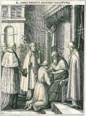 Hôtel de ville -  Fiktive Darstellung: Arn von Salzburg empfängt von Papst Leo III. die Stola