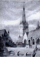 Eglise Saint-Christophe -  Eglise Saint-Christophe et Château du Bailly à Tourcoing (lithographie du début du dix-neuvième siècle).