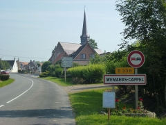 Eglise Saint-Martin - English: Wemaers-Cappel (Nord, Fr) city limit sign