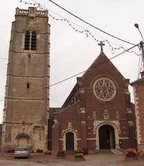 Eglise - Deutsch: Dorfkirche (Sankt Germanus) zu Carnières (Frankreich, Dept. Nord), Turm aus dem 16. Jh., neugotische Kirche aus dem 19. Jh. (Architekt: Louis Cordonnier).