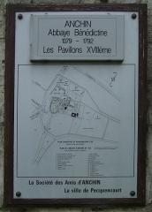 Ancienne abbaye d'Anchain - Français:   Plan de l\'abbatiale de Pecquencourt en 1792