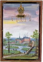 Ancienne abbaye bénédictine - Français:   Abbaye d\'Haumont en 1598. Albums de Croÿ, Vienne, Österreichische Nationalbiblithek.