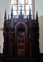 Eglise Saint-Joseph - Deutsch: Beichtstuhl in der Kirche St. Joseph, Roubaix, Département Nord, Region Oberfrankreich (ehemals Nord-Pas-de-Calais), Frankreich