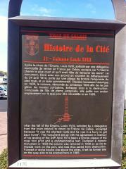 Colonne commémorative du débarquement de Louis XVIII à Calais - English: Louis XVIII sign calais