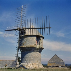Moulin de Crémeur - Nederlands: Molen/ Stenen molen: Overzicht van stenen molen Le Diable te Guerande, ten noorden van Le Croisic (opmerking: Diacollectie Molens)