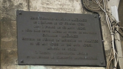 Immeuble - English: Plaque commemorating René-Théophile-Hyacinthe Laënnec, who lived in a house at Place du Bouffay, Nantes, as a child.