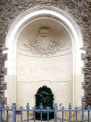 Ancien évêché ou Palais du Tau - English:  Villebon tower (inscription), vestiges of the Western Roman Empire's city wall of Angers, Maine-et-Loire, Pays de la Loire, France. 3rd or 4th century, restored in 1891-1893.