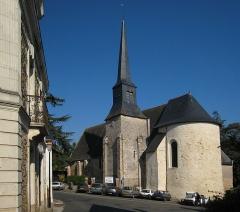 Eglise et presbytère de Neuville - English: Grez-Neuville, community on the river Mayenne in the département of Maine-et-Loire in the Region Pays de la Loire in France; church of Saint-Martin_de-Vertou, located in Grez.