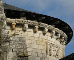 Eglise (à l'exception des parties modernes) -  Village of Saint-Rémy-la-Varenne in the département of Maine-et-Loire in the region Pays de la Loire in France - church of Saint-Remy, roof cornice