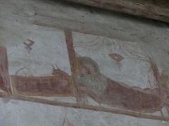 Chapelle Notre-Dame de Pritz - Français:   Fresque de Notre Dame de Pritz (cycle de la vierge, visitation, nativité, vierge allaitante) début 12ème siècle