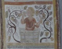 Chapelle Notre-Dame de Pritz - Français:   Fresque de l\'intrados de l\'arc du chœur calendrier des saisons: septembre