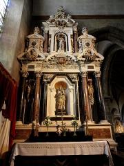 Eglise Notre-Dame des Cordeliers - Français:   Autel et retable de la Vierge. Église Notre-Dame-des-Cordeliers de Laval (53). Architecte: Michel Langlois.