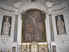 Chapelle Saint-Martin de Villenglose - English: The choir of St. Martin de Villenglose's church, in Saint-Denis-d'Anjou, Mayenne, France.