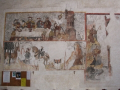 Eglise Saint-Denis - English: Frescoes inside St. Denis' church, in Saint-Denis-d'Anjou, Mayenne, France.