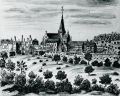 Abbaye de Fontaine-Daniel (restes) - Français:   L\'abbaye de Fontaine Daniel en 1695, par Louis Boudan.