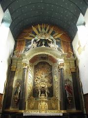Eglise paroissiale - Français:   Maître-autel et retable de l\'église Notre-Dame-de-l\'Assomption de Brecé (53). Le retable.