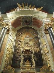 Eglise paroissiale - Français:   Maître-autel et retable de l\'église Notre-Dame-de-l\'Assomption de Brecé (53). Section centrale du retable.