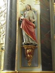 Eglise paroissiale - Français:   Maître-autel et retable de l\'église Notre-Dame-de-l\'Assomption de Brecé (53). Statue de saint-André.