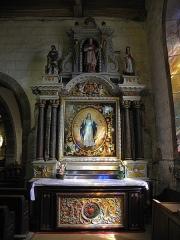 Eglise paroissiale - Français:   Autel et retable de l\'Immaculée Conception de l\'église Notre-Dame-de-l\'Assomption de Brecé (53).