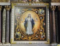 Eglise paroissiale - Français:   Retable de l\'Immaculée Conception de l\'église Notre-Dame-de-l\'Assomption de Brecé (53). Tableau de l\'Immaculée Conception.