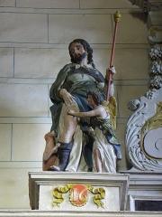 Eglise paroissiale - Français:   Retable de l\'Immaculée Conception de l\'église Notre-Dame-de-l\'Assomption de Brecé (53). Statue de Saint-Roch.