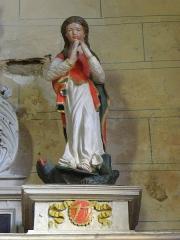 Eglise paroissiale - Français:   Retable de l\'Immaculée Conception de l\'église Notre-Dame-de-l\'Assomption de Brecé (53). Statue de Sainte-Marguerite.