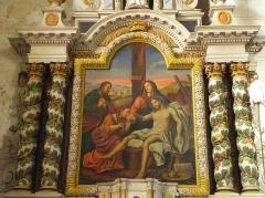 Eglise paroissiale - Français:   Retable de Notre-Dame-de-Pitié en l\'église Notre-Dame-de-l\'Assomption de Brecé (53). Tableau de Notre-Dame-de-Pitié.