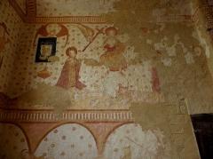 Eglise paroissiale Notre-Dame - Français:   Fresques ornant le mur ouest de la chapelle Sainte-Anne de l\'église Notre-Dame de Cossé-en-Champagne (53). Le Jugement dernier.