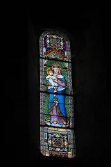 Eglise Saint-Aubin - Deutsch: Kirche Saint-Aubin in Bazouges-sur-le-Loir im Département Sarthe (Pays de la Loire/Frankreich), Bleiglasfenster mit der Jahreszahl 1905, Darstellung: Madonna mit Kind