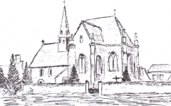 Eglise - English: drawing of LA BRUERE SUR LOIR church