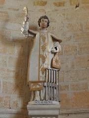 Eglise - Français:   Église Saint-Laurent de Neuvy-en-Champagne (72). Statue de Saint-Laurent.