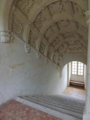 Château de Poncé - Français:   L\'escalier Renaissance dans la tour centrale du château de Poncé.