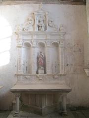 Eglise - Français:   Autel latéral de l\'église Saint-Jean-Baptiste de Vezot, dans la Sarthe.