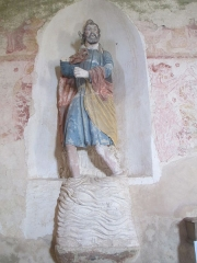 Eglise - Français:   Statue de Saint Christophe dans l\'église Saint-Jean-Baptiste de Vezot, dans la Sarthe