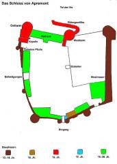 Château - English: Apremont: castle map