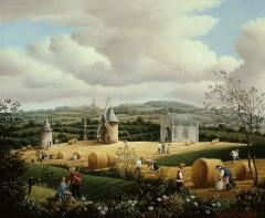 Moulins à vent du Mont des Alouettes - Français:   Le Mont des Alouettes au champ de blé