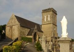 Eglise - Français:   L\'église St jean-Baptiste (XIème siècle) à St Jean-le-Thomas, Manche.