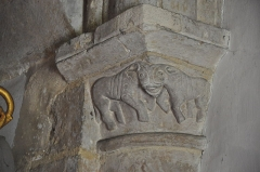 La Chapelle des Marins - English: Saint-Vaast-la-Hougue (France, Normandy) relief of animal with two bodies